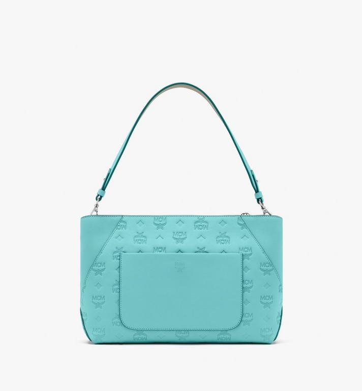 MCM Klara Shoulder Bag in Monogram Leather Blue MWS9SKM79H3001 Alternate View 4