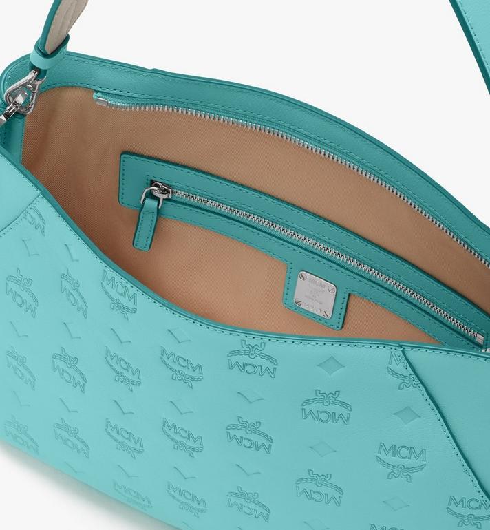 MCM Klara Shoulder Bag in Monogram Leather Blue MWS9SKM79H3001 Alternate View 5