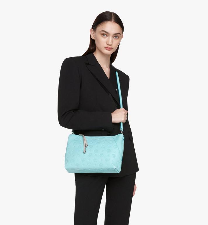 MCM Klara Shoulder Bag in Monogram Leather Blue MWS9SKM79H3001 Alternate View 7