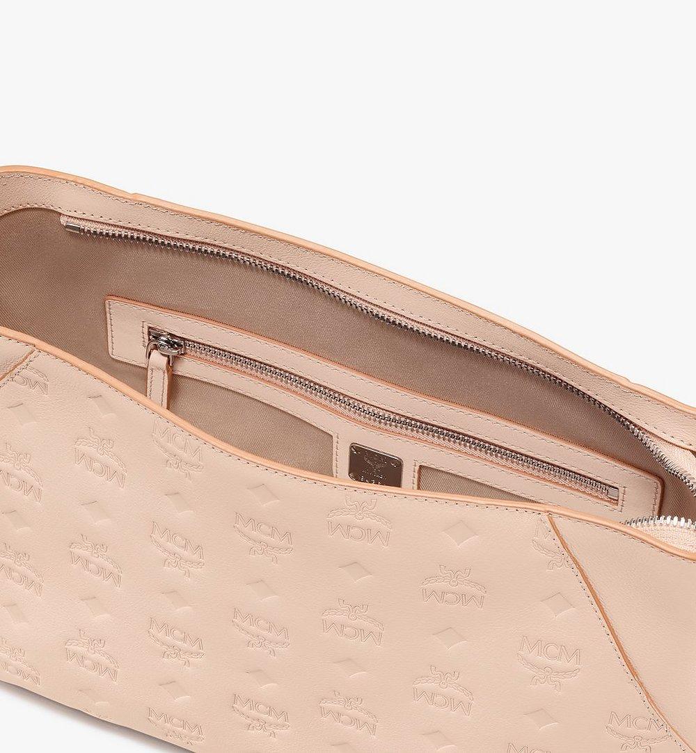 MCM Klara Shoulder Bag in Monogram Leather Beige MWS9SKM79II001 Alternate View 4