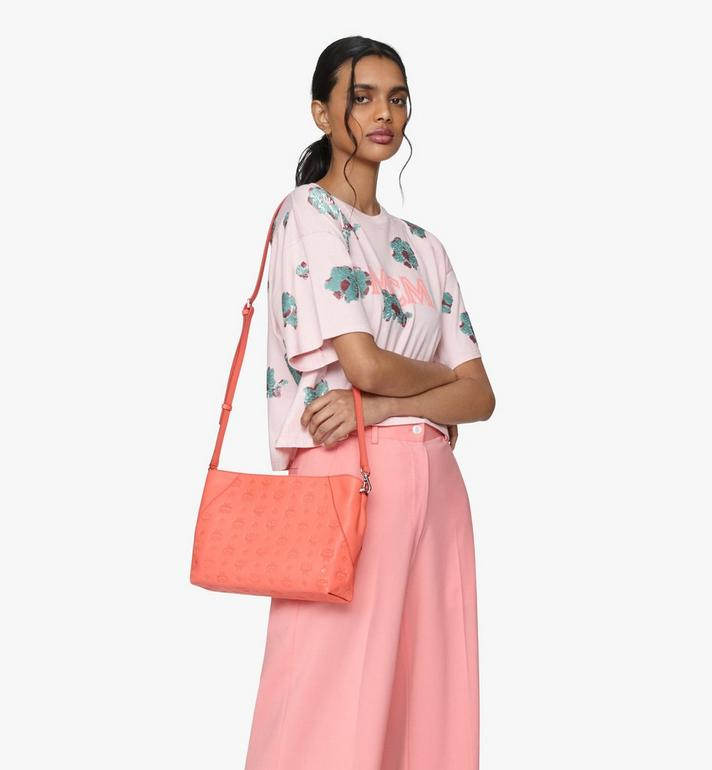 MCM Klara Shoulder Bag in Monogram Leather Red MWS9SKM79O3001 Alternate View 7
