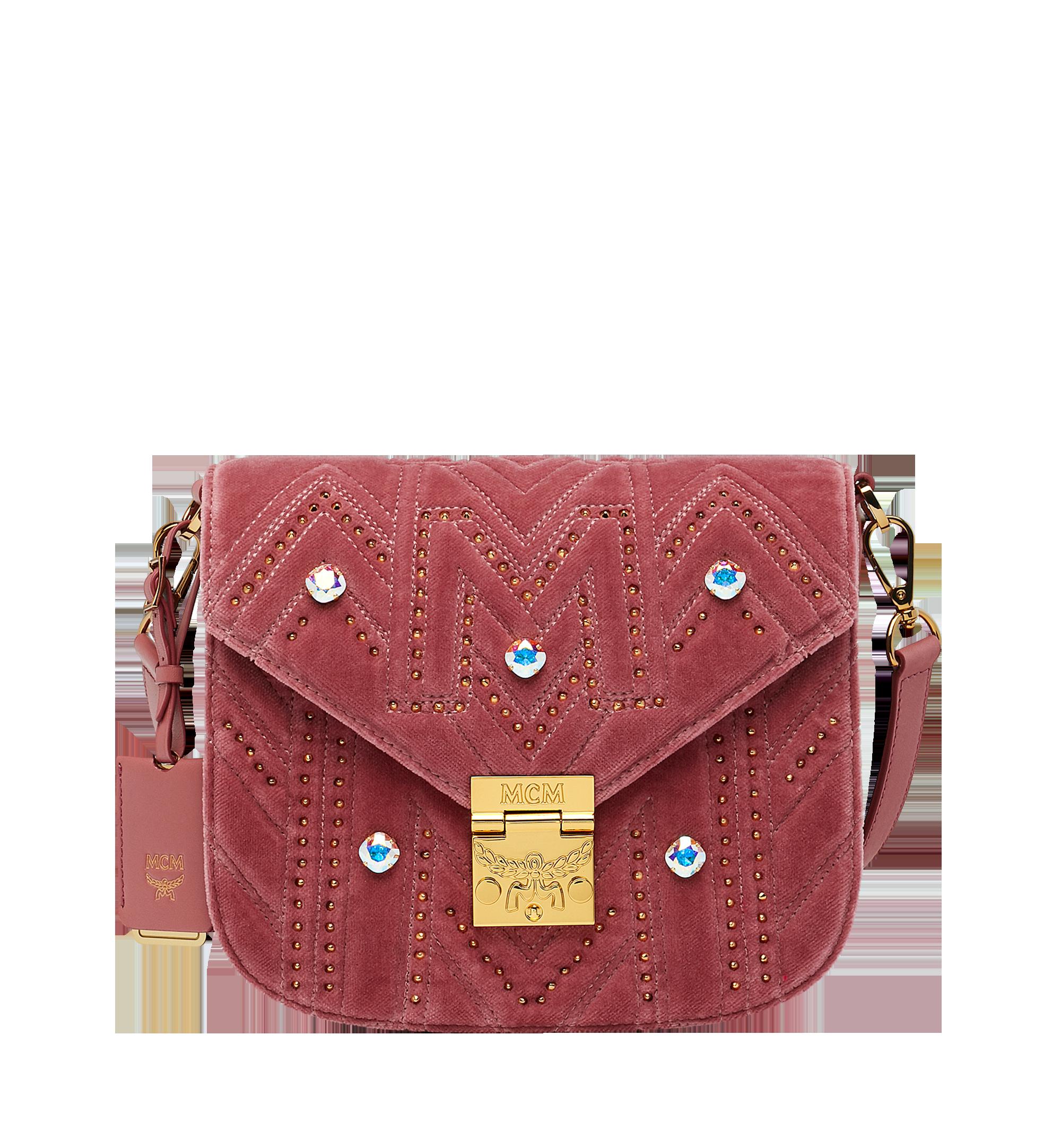 fe46d7bc4bf Small Patricia Shoulder Bag in Velvet Crystal Studs Quartz Pink | MCM