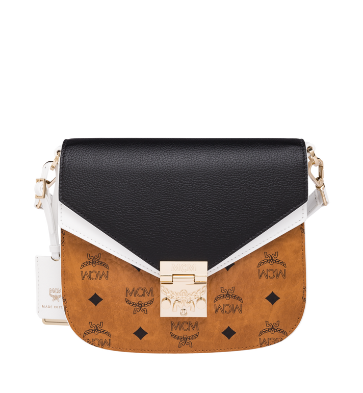 81701d4419 Small Patricia Shoulder Bag in Visetos Leather Block Cognac   Black ...