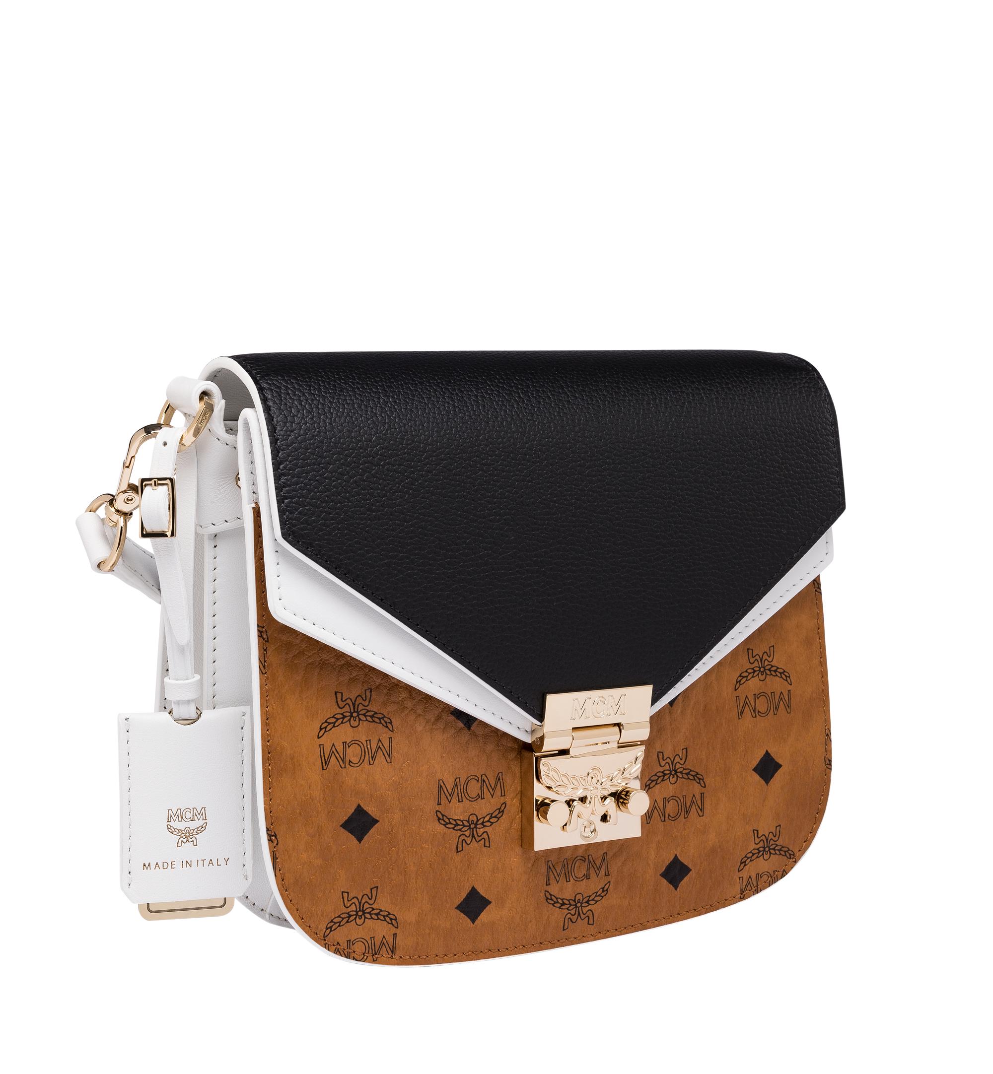 Small Patricia Shoulder Bag in Visetos Leather Block Cognac