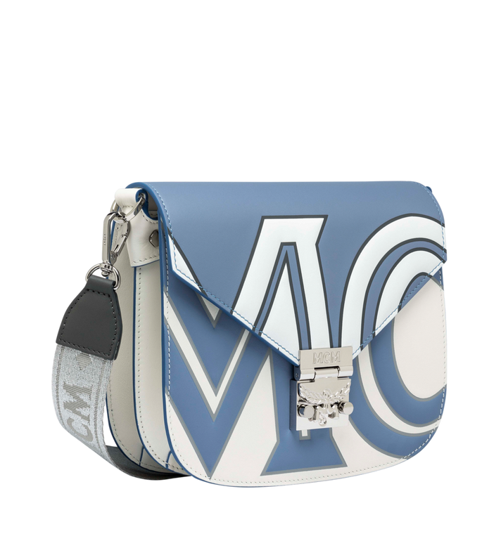 MCM Patricia Shoulder Bag in Contrast Logo Leather Grey MWS9SPA37HH001 Alternate View 2