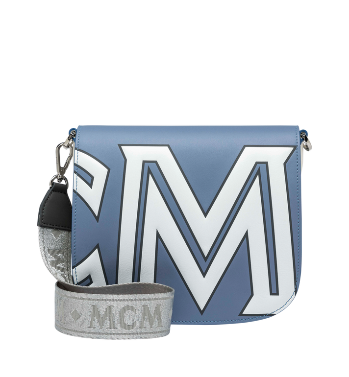 MCM Patricia Shoulder Bag in Contrast Logo Leather Grey MWS9SPA37HH001 Alternate View 4