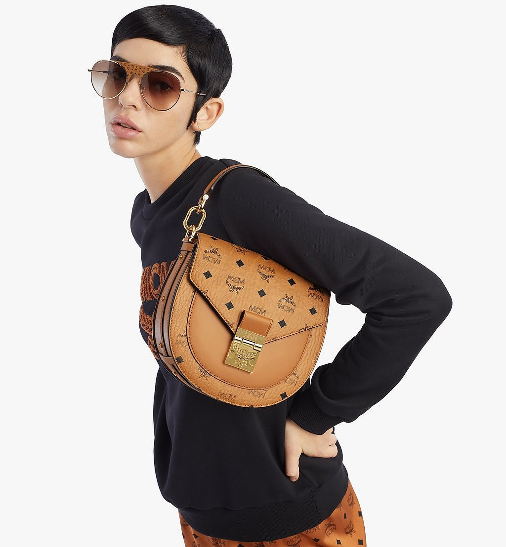 MCM Patricia Shoulder Bag in Visetos Black MWSAAPA01CO001 Alternate View 2