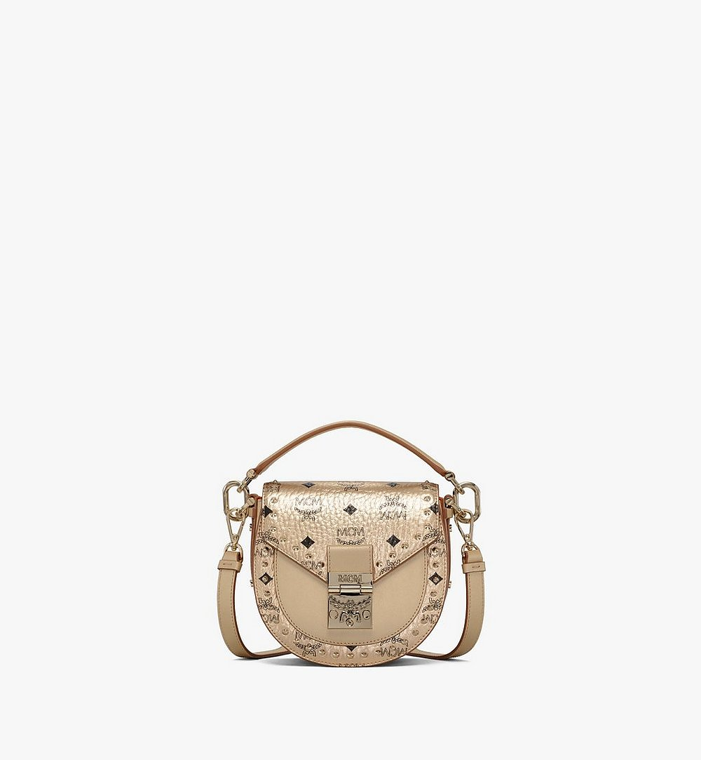 MCM Patricia Shoulder Bag in Studded Outline Visetos Gold MWSAAPA05T1001 Alternate View 1