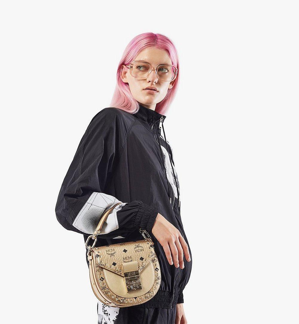 MCM Patricia Shoulder Bag in Studded Outline Visetos Gold MWSAAPA05T1001 Alternate View 2