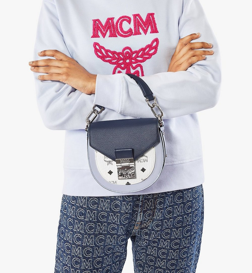MCM Patricia Shoulder Bag in Color Block Visetos Blue MWSAAPA08VW001 Alternate View 2