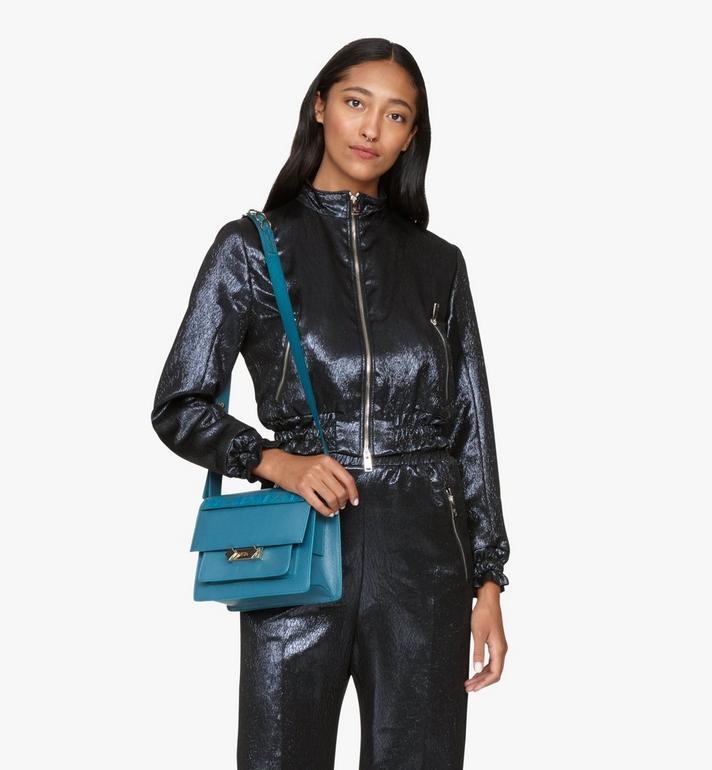 MCM Milano Shoulder Bag in Goatskin Leather Blue MWSASDA01JF001 Alternate View 5