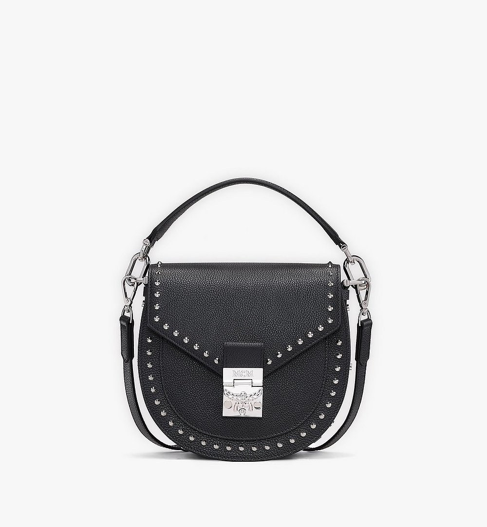 MCM Patricia Shoulder Bag in Studded Park Ave Leather Black MWSASPA01BK001 Alternate View 1
