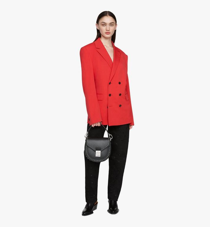 MCM Patricia Shoulder Bag in Studded Park Ave Leather Black MWSASPA01BK001 Alternate View 5