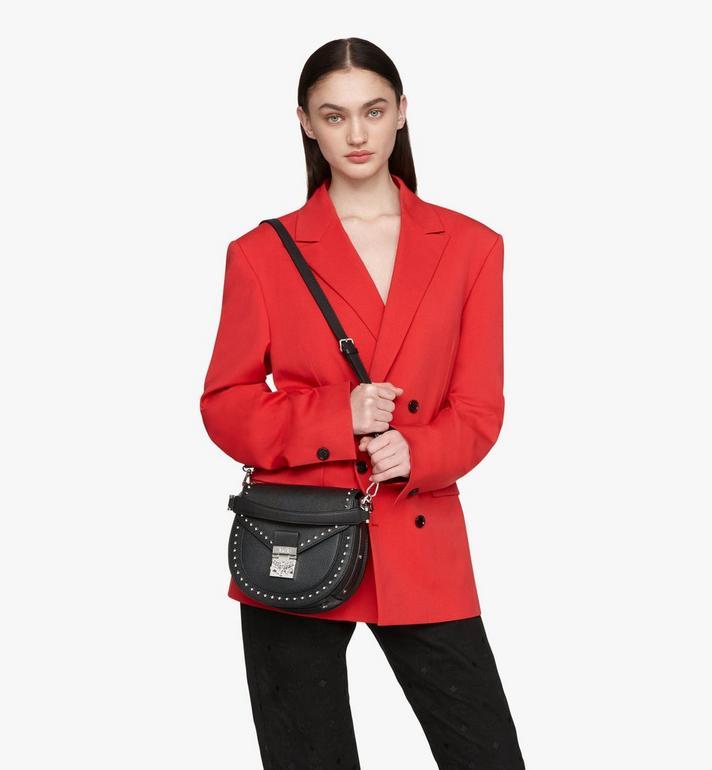 MCM Patricia Shoulder Bag in Studded Park Ave Leather Black MWSASPA01BK001 Alternate View 6