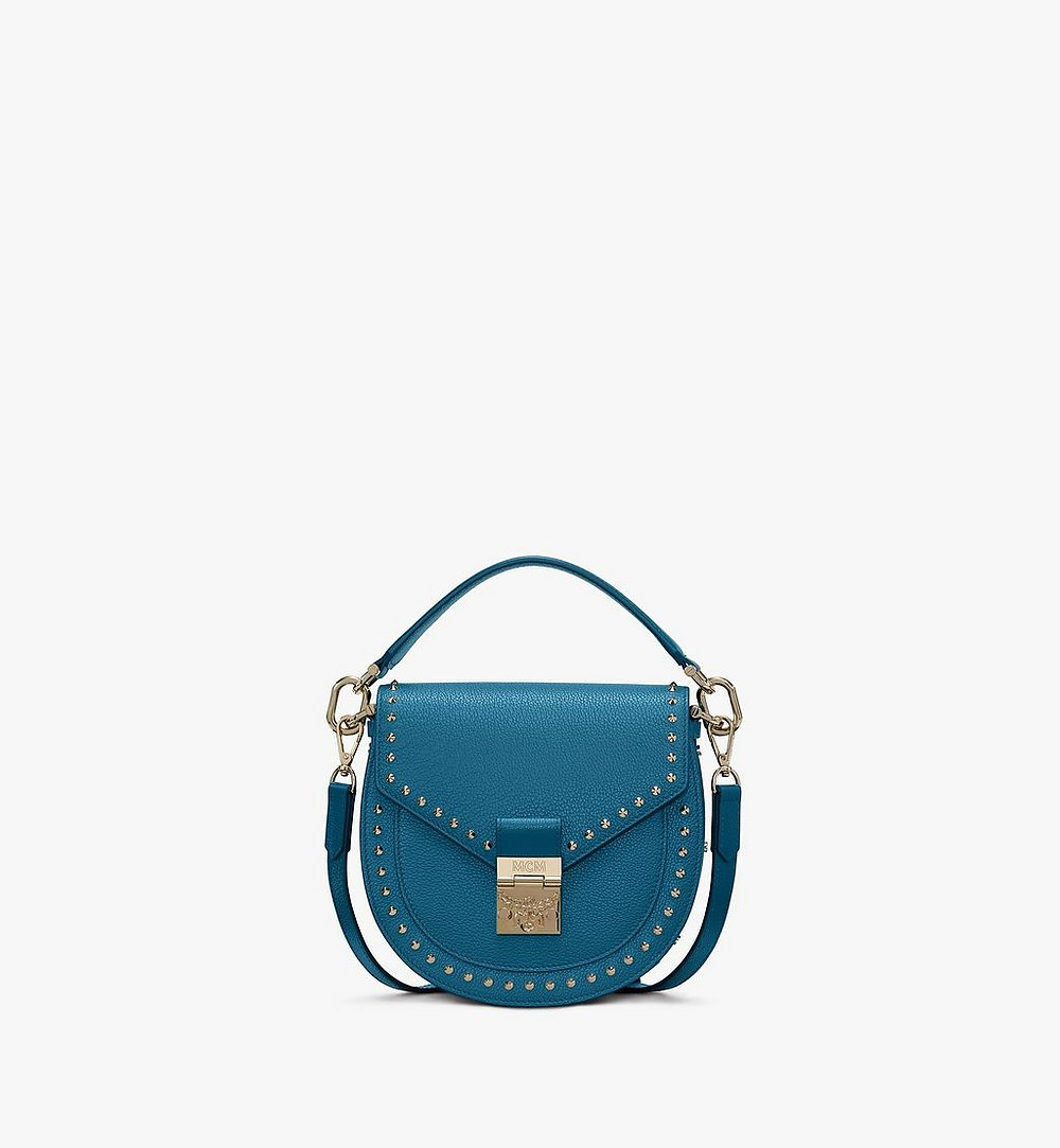 MCM Patricia Shoulder Bag in Studded Park Ave Leather Blue MWSASPA01JF001 Alternate View 1