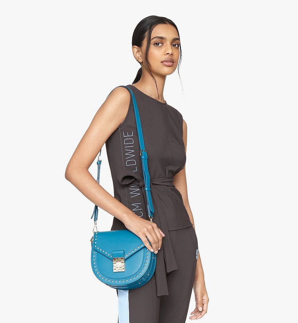 MCM Patricia Shoulder Bag in Studded Park Ave Leather Blue MWSASPA01JF001 Alternate View 2