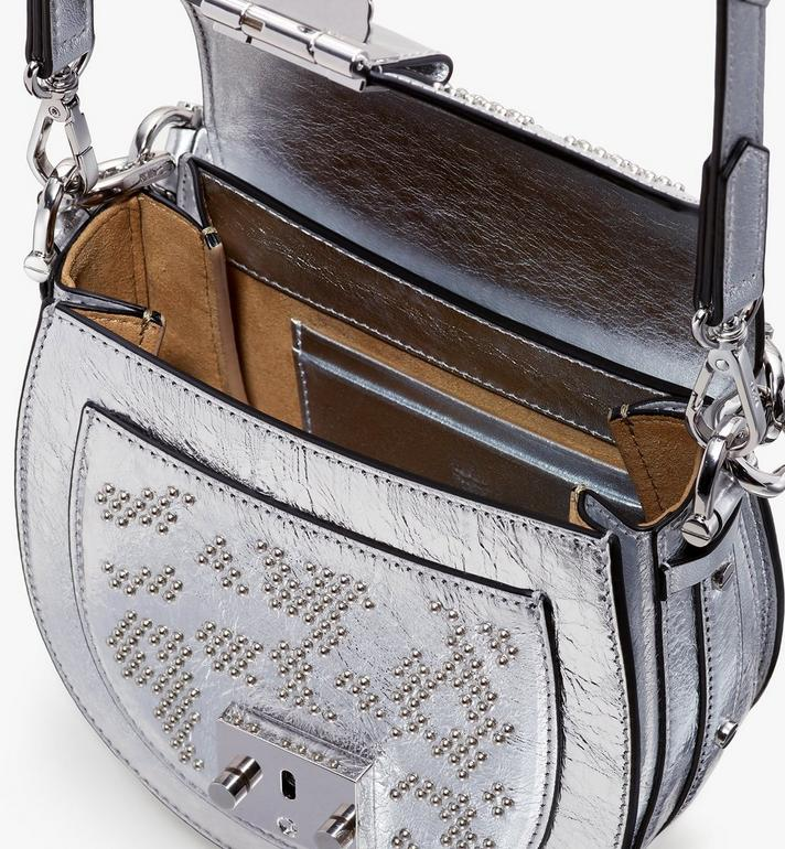 MCM Patricia Shoulder Bag in Metallic Leopard Stud Silver MWSASPA10SA001 Alternate View 4