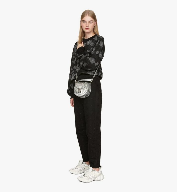 MCM Patricia Shoulder Bag in Metallic Leopard Stud Silver MWSASPA10SA001 Alternate View 7