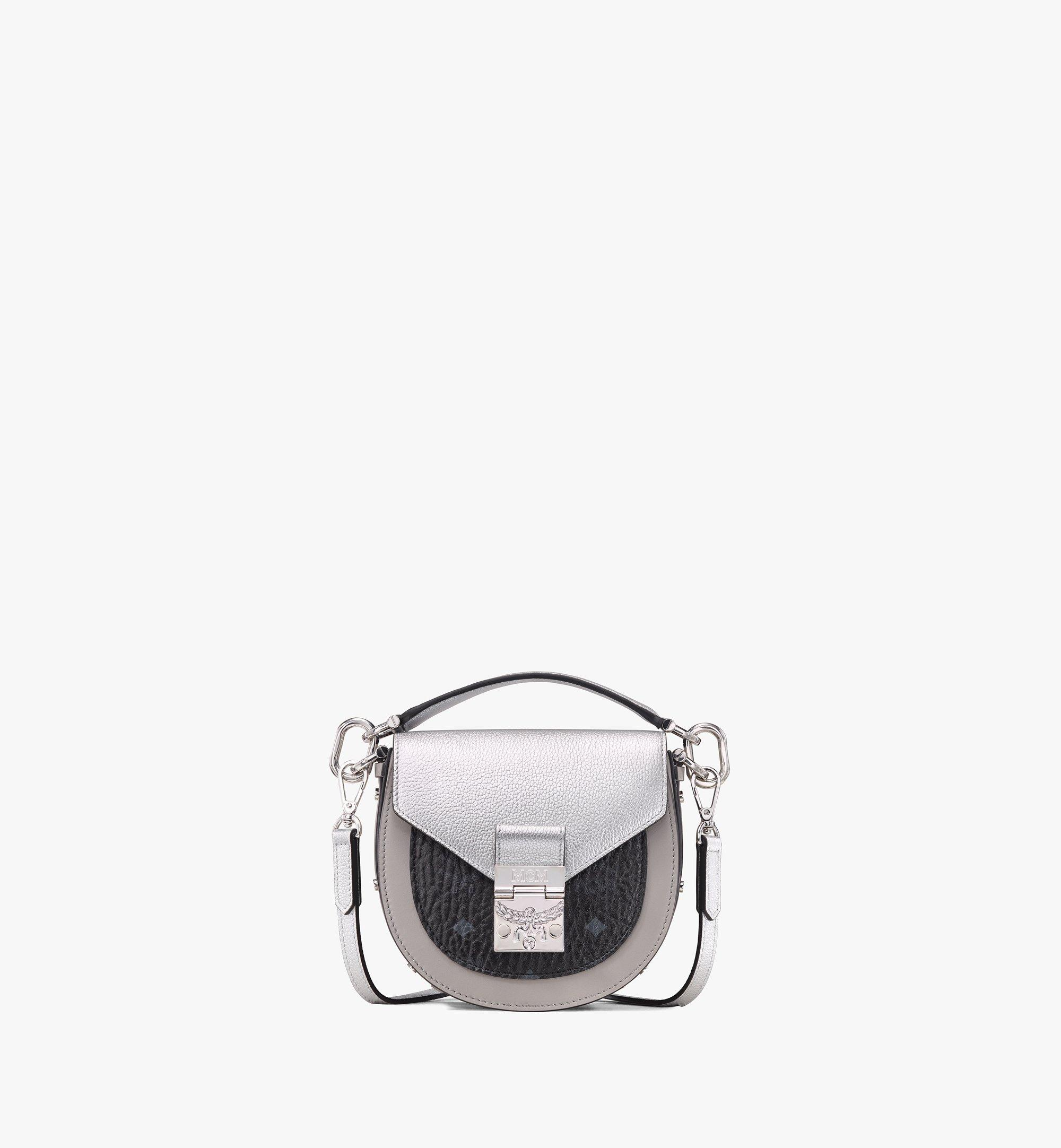 MCM Patricia Shoulder Bag in Color Block Visetos Silver MWSASPA13SE001 Alternate View 1