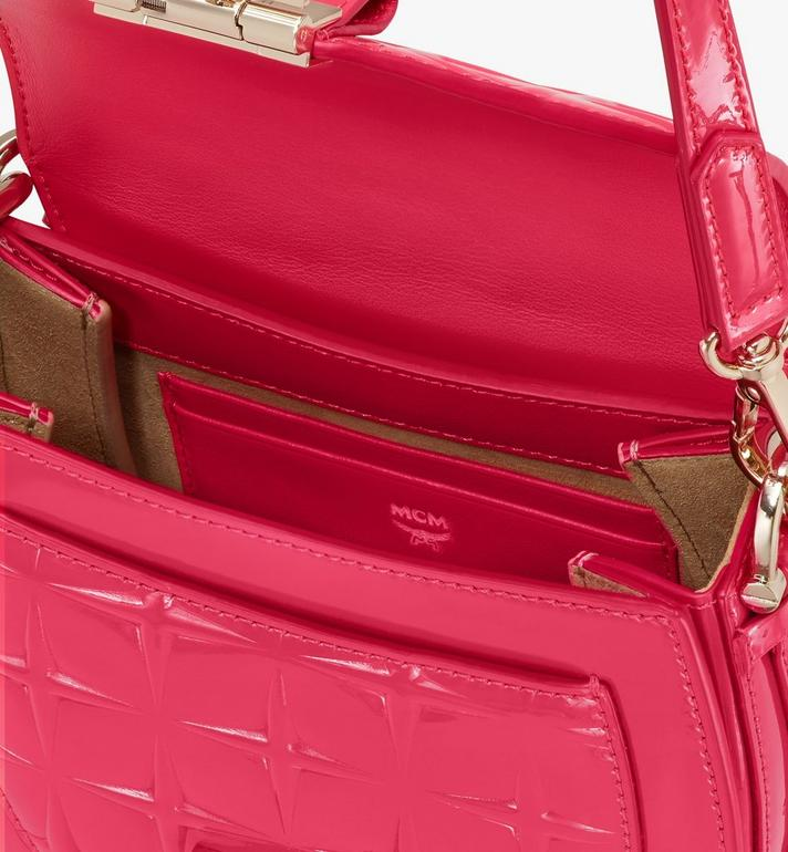 MCM Patricia Shoulder Bag in Diamond Patent Leather Pink MWSASPA14QE001 Alternate View 4