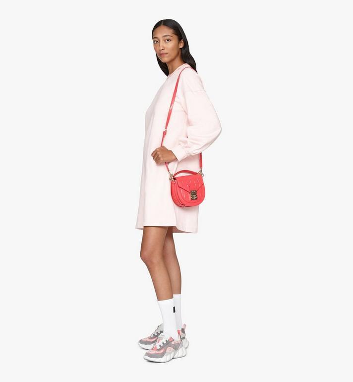 MCM Patricia Shoulder Bag in Diamond Patent Leather Pink MWSASPA14QE001 Alternate View 5