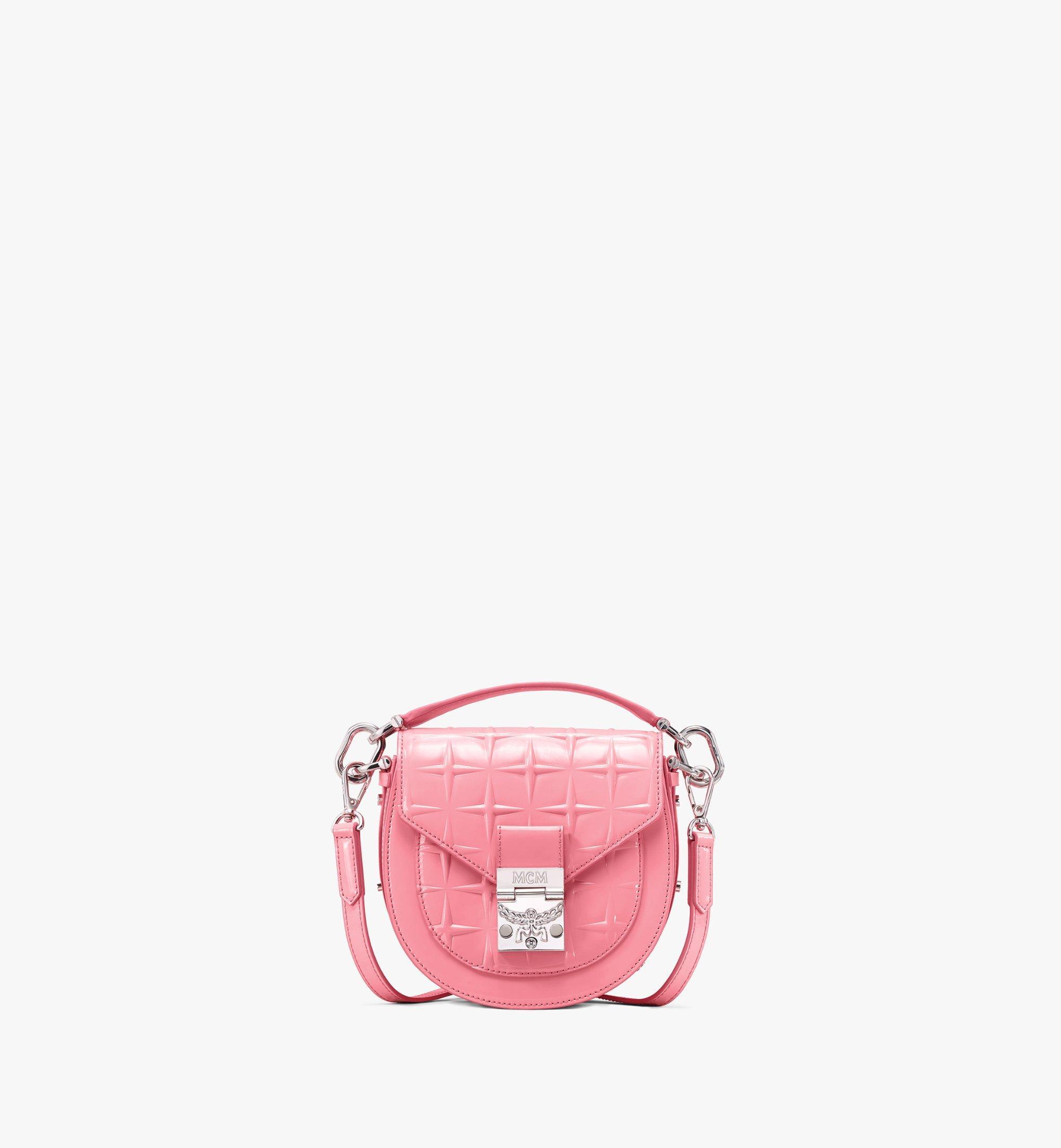 MCM Patricia Shoulder Bag in Diamond Patent Leather Pink MWSASPA14QG001 Alternate View 1