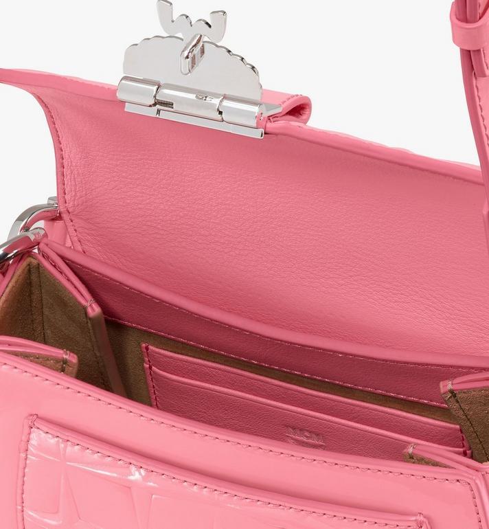 MCM Patricia Shoulder Bag in Diamond Patent Leather Pink MWSASPA14QG001 Alternate View 4