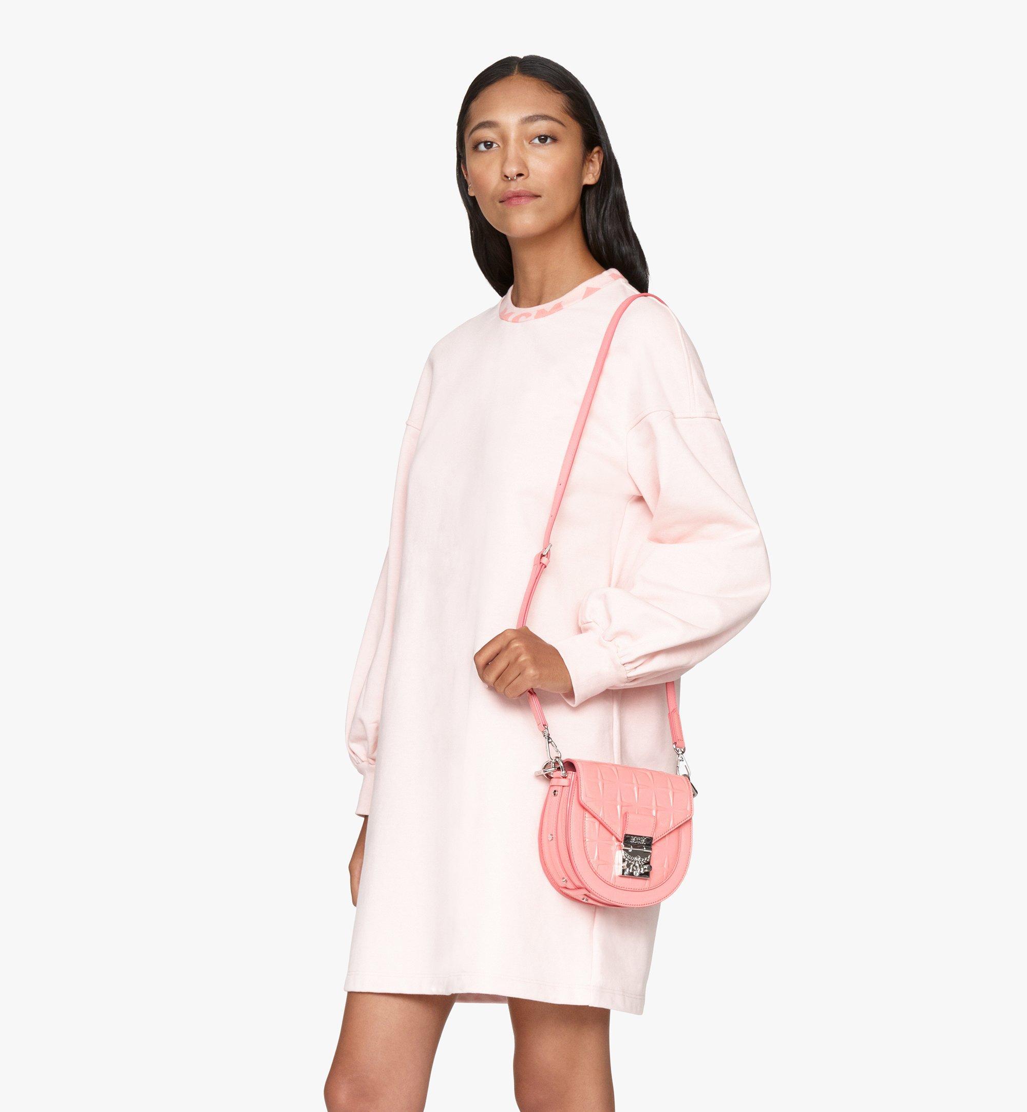 MCM Patricia Shoulder Bag in Diamond Patent Leather Pink MWSASPA14QG001 Alternate View 6