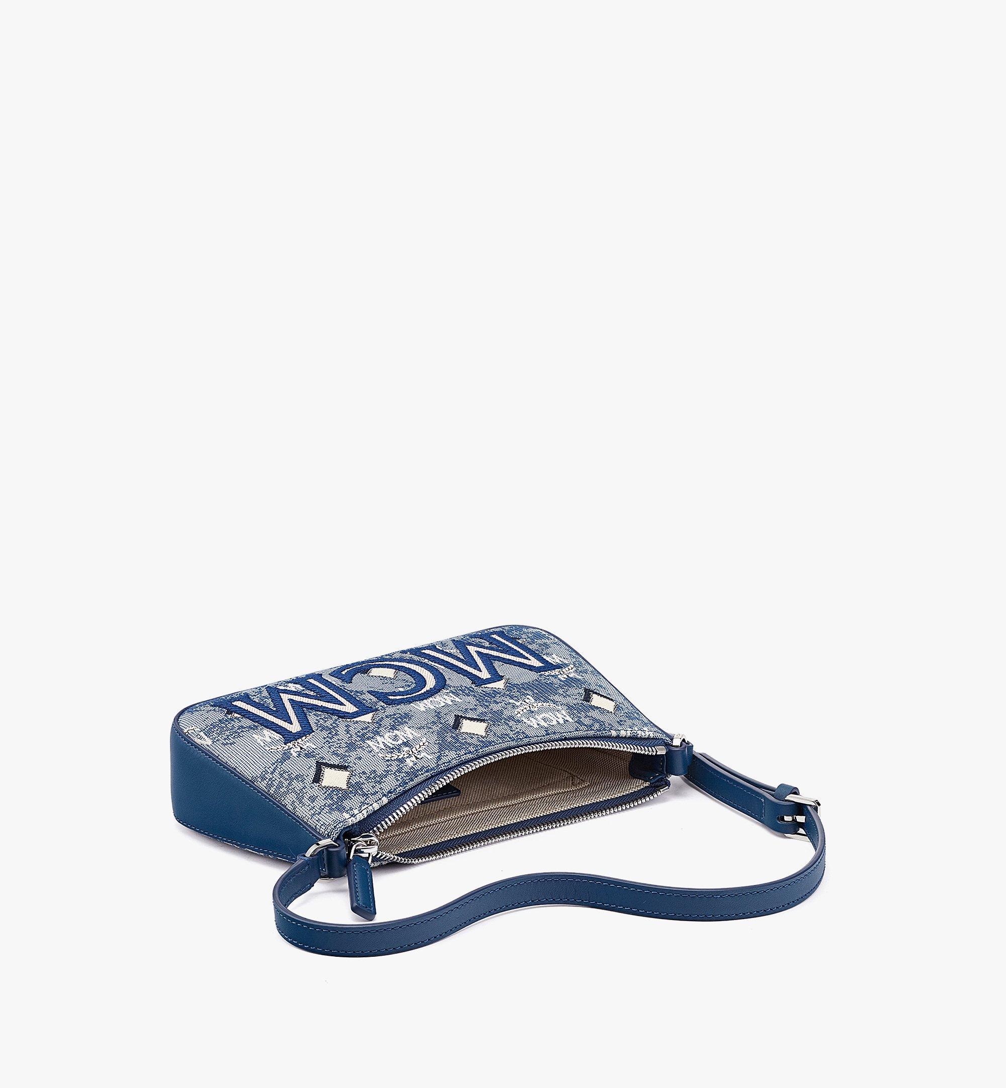 MCM 빈티지 자카드 모노그램 숄더 백 Blue MWSBATQ01LU001 다른 각도 보기 2