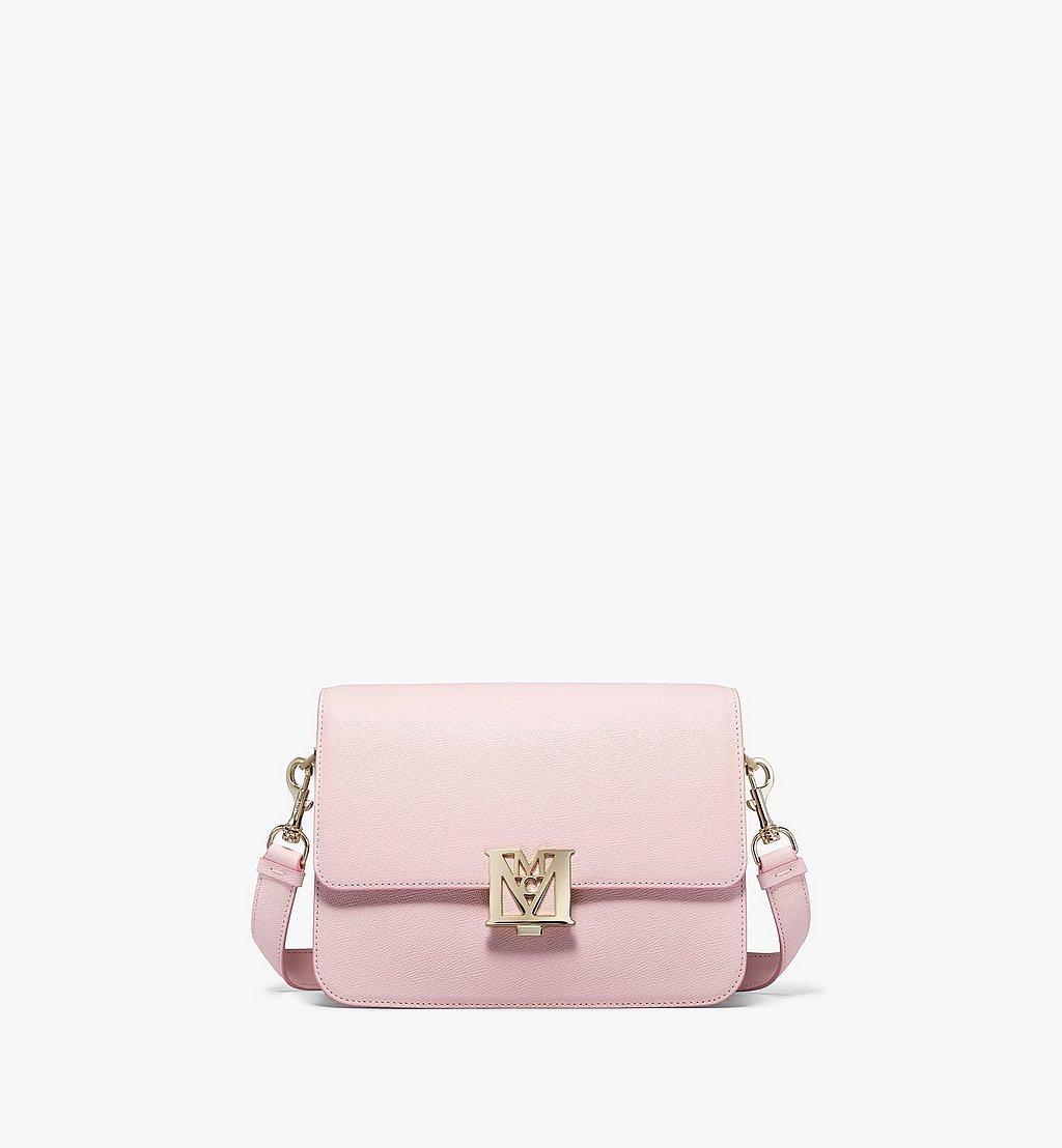 MCM Mena Shoulder Bag in Visetos Leather Block Pink MWSBSLM01QH001 Alternate View 1