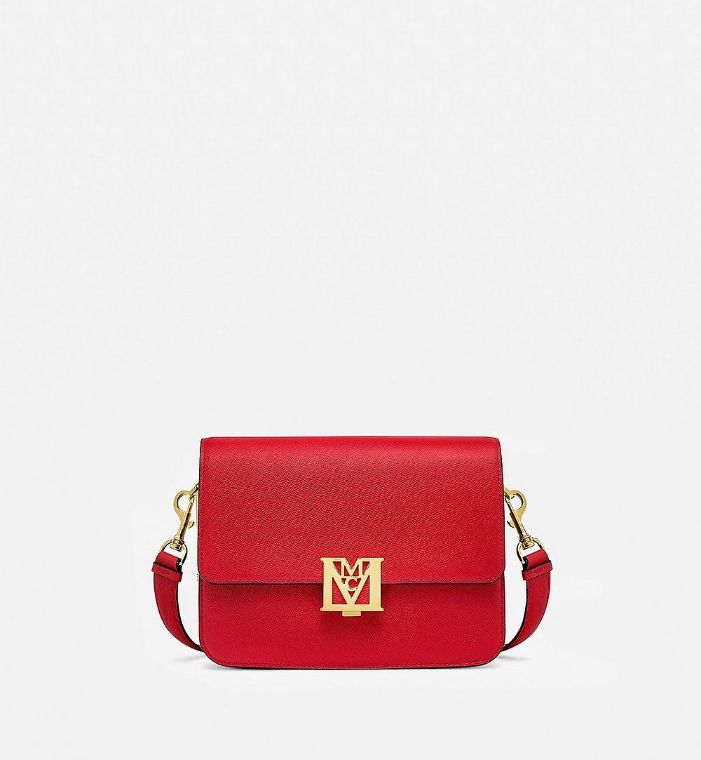 MCM Mena Shoulder Bag in Visetos Leather Block Red MWSBSLM01RU001 Alternate View 1