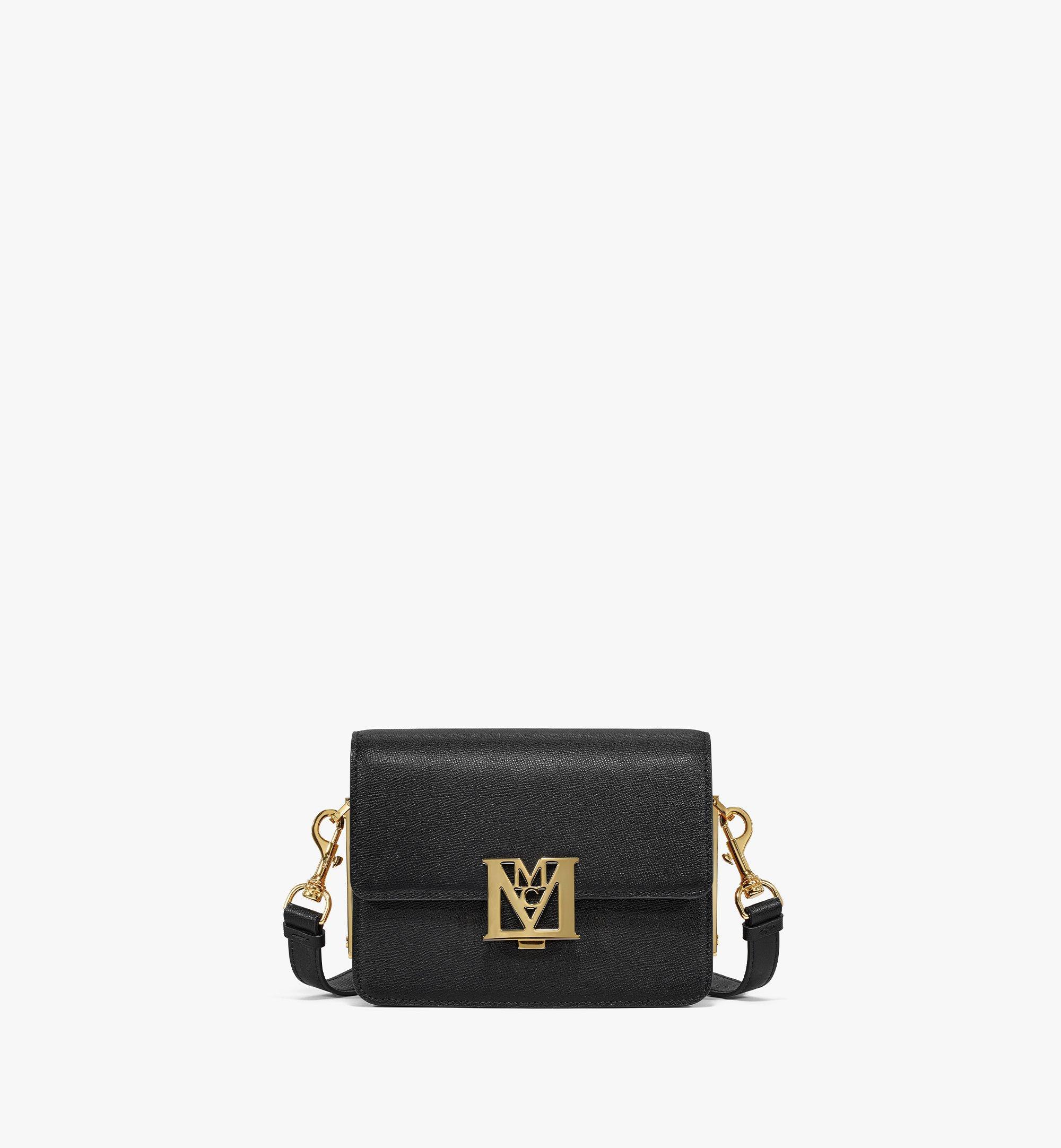 MCM Mena Shoulder Bag in Visetos Leather Block Black MWSBSLM02BK001 Alternate View 1