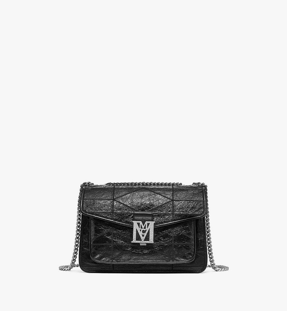 MCM Mena Quilted Shoulder Bag in Crushed Leather Black MWSBSLM05BK001 Alternate View 1