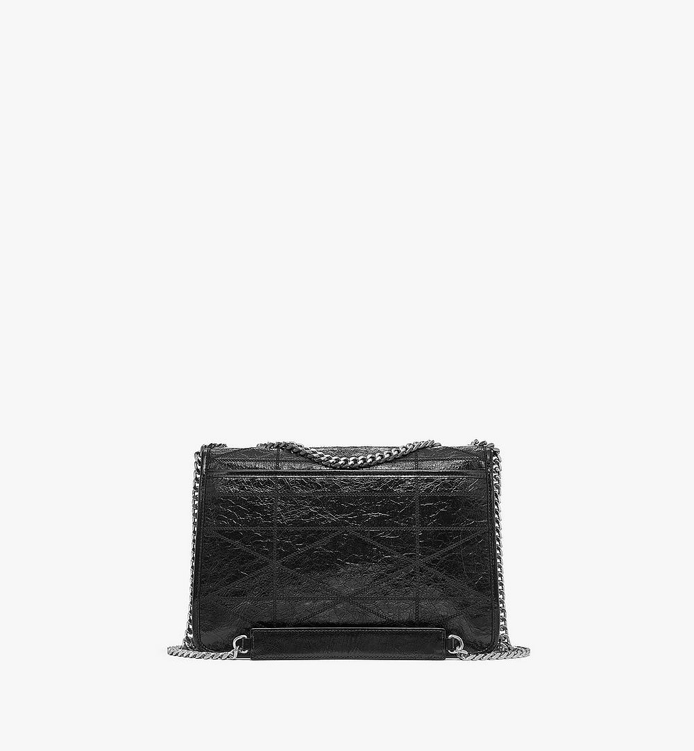 MCM Mena Quilted Shoulder Bag in Crushed Leather Black MWSBSLM05BK001 Alternate View 3