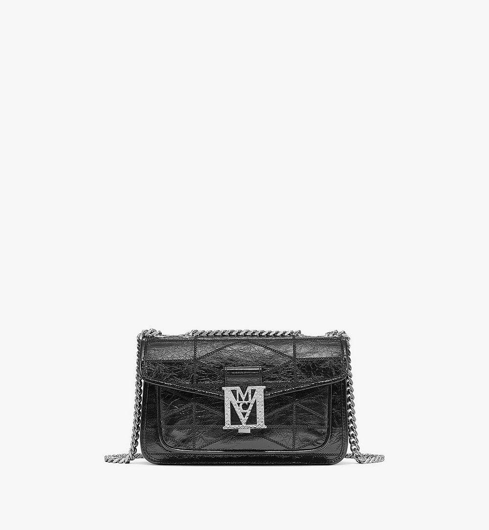 MCM Mena Quilted Shoulder Bag in Crushed Leather Black MWSBSLM06BK001 Alternate View 1