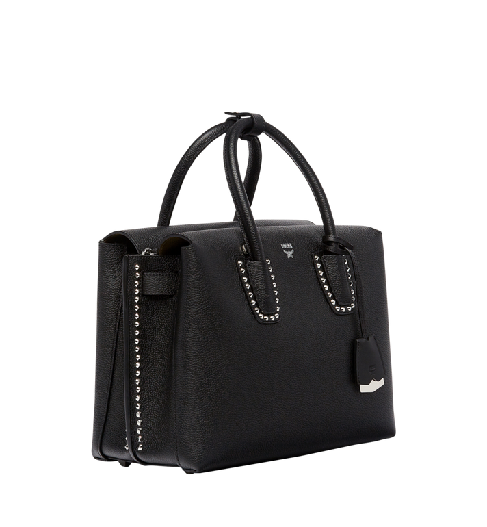 MCM Milla Studded Outline Tote in Grained Leather MWT7AMA58BK001 AlternateView2