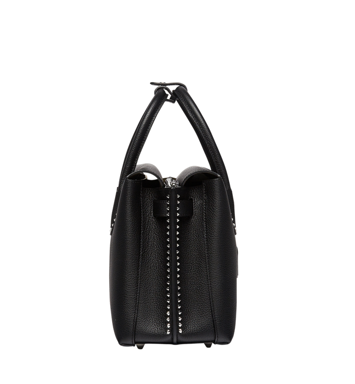 MCM Milla Studded Outline Tote in Grained Leather MWT7AMA58BK001 AlternateView3