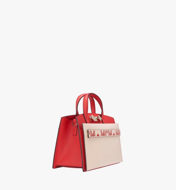 MCM Milano Tote Bag in Calfskin Leather Red MWT9ADA12R3001 Alternate View 2