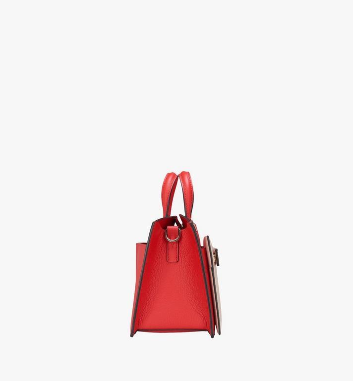 MCM Milano Tote Bag in Calfskin Leather Red MWT9ADA12R3001 Alternate View 3