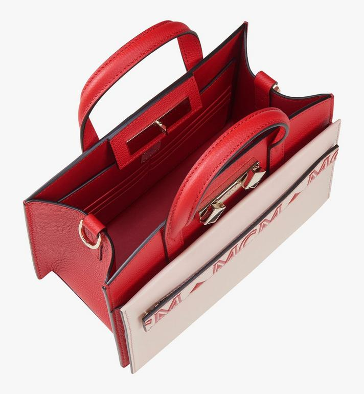 MCM Milano Tote Bag in Calfskin Leather Red MWT9ADA12R3001 Alternate View 5