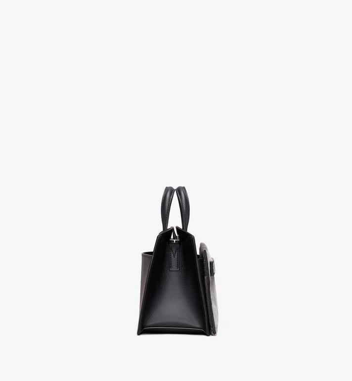 MCM Milano Mini Tote Bag in Metallic Haircalf Silver MWT9ADA14BI001 Alternate View 2