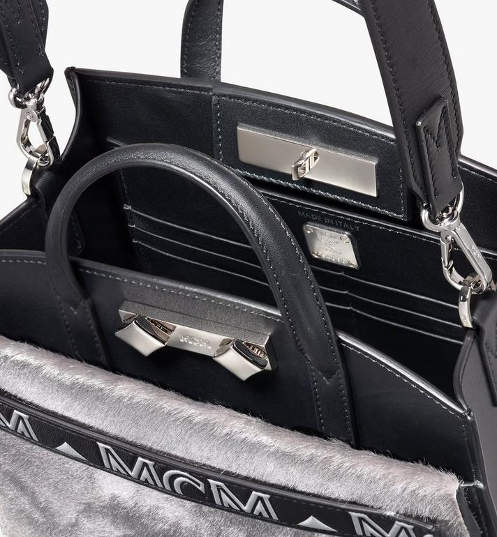 MCM Milano Mini Tote Bag in Metallic Haircalf Silver MWT9ADA14BI001 Alternate View 4