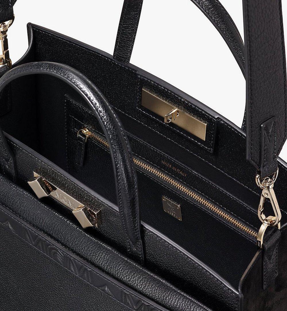 MCM Milano Tote Bag in Goatskin Leather Black MWT9ADA15BK001 Alternate View 3