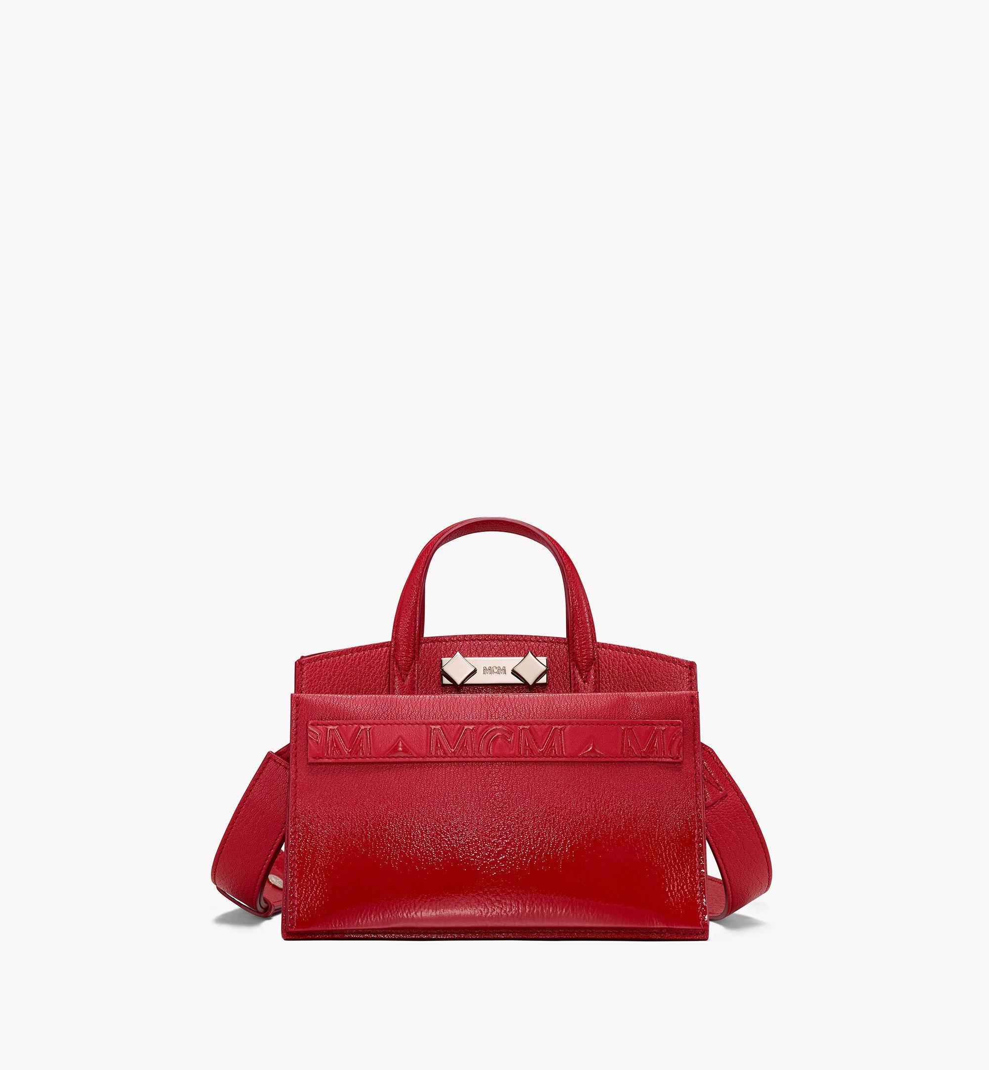 MCM Milano Tote Bag in Patent Goatskin Leather Red MWT9ADA18RU001 Alternate View 1