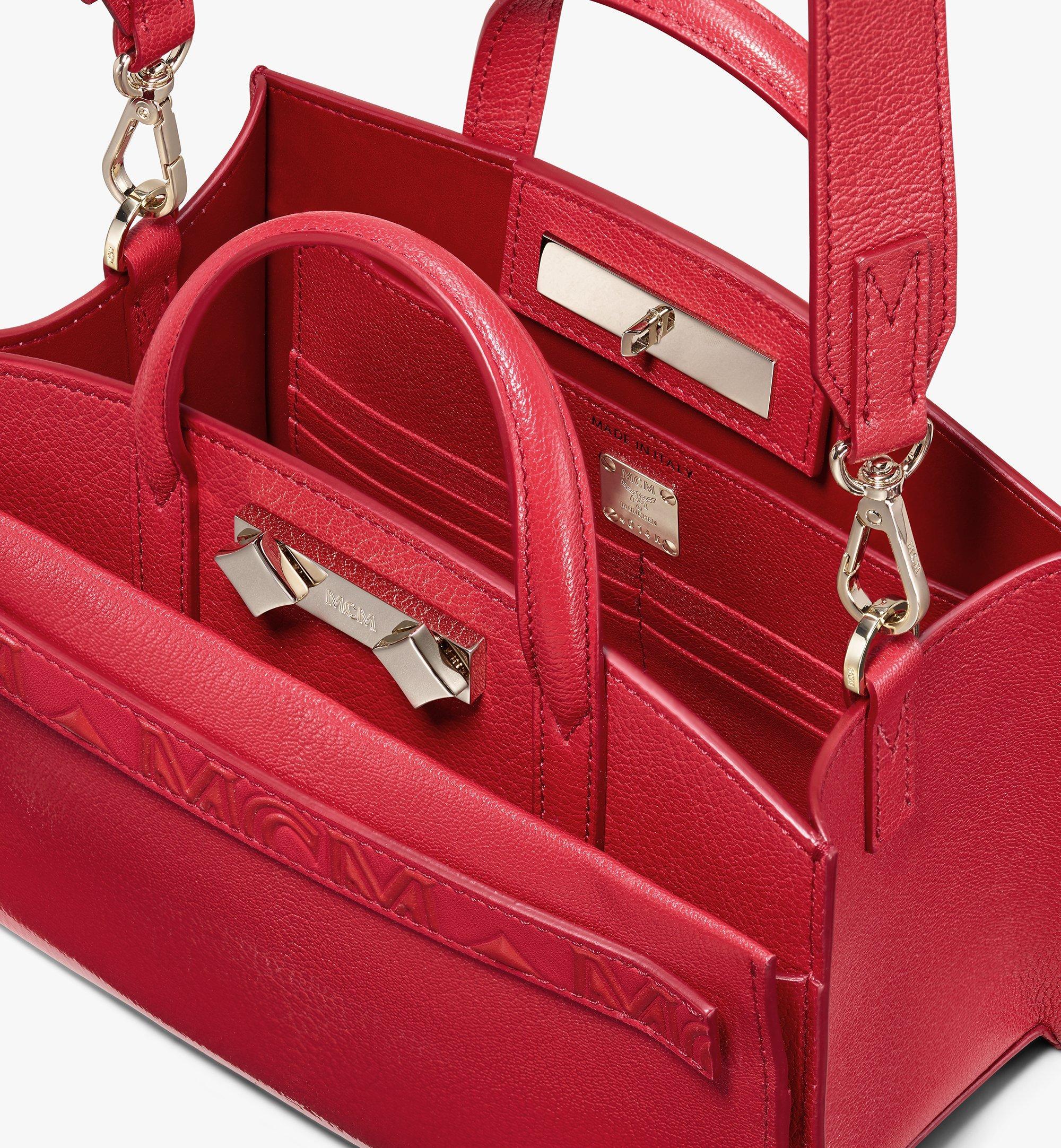 MCM Milano Tote Bag in Patent Goatskin Leather Red MWT9ADA18RU001 Alternate View 4