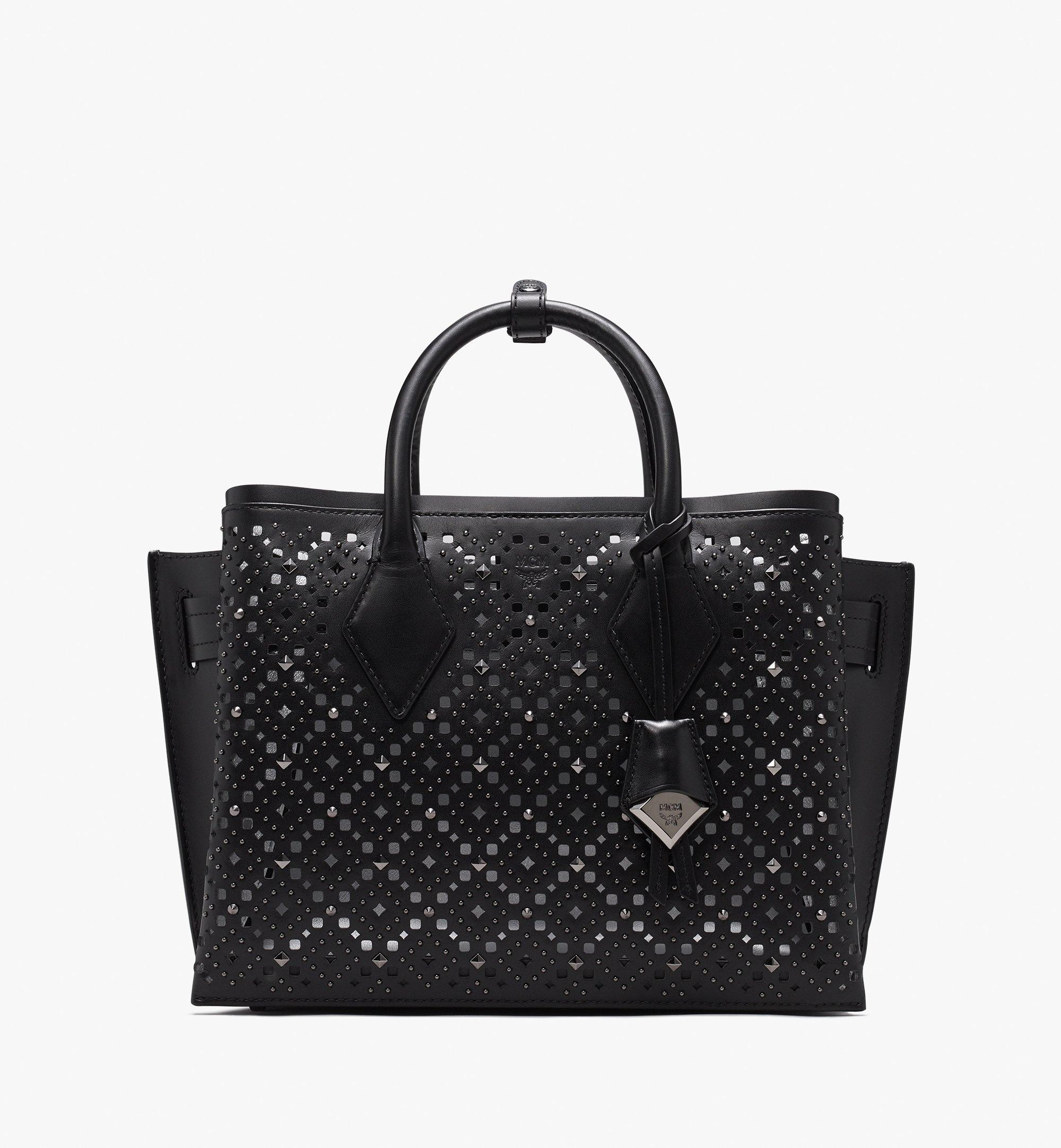 MCM Neo Milla Tote in Perforated Leather Black MWT9AMA86BK001 Alternate View 1