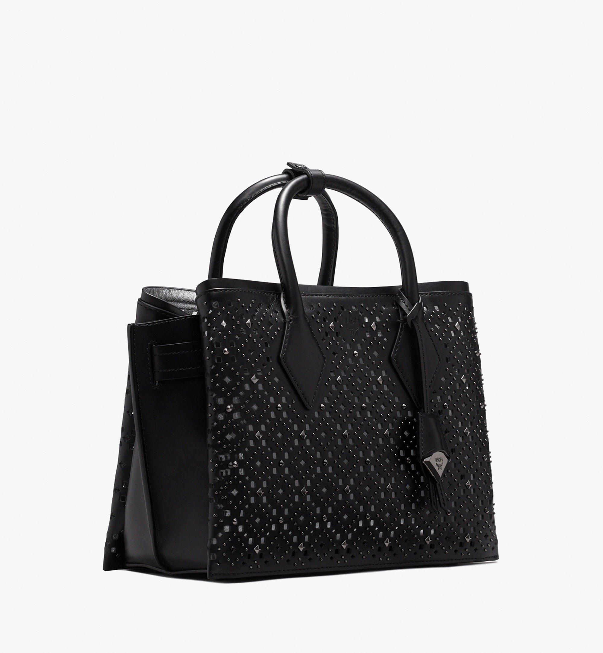 MCM Neo Milla Tote in Perforated Leather Black MWT9AMA86BK001 Alternate View 2