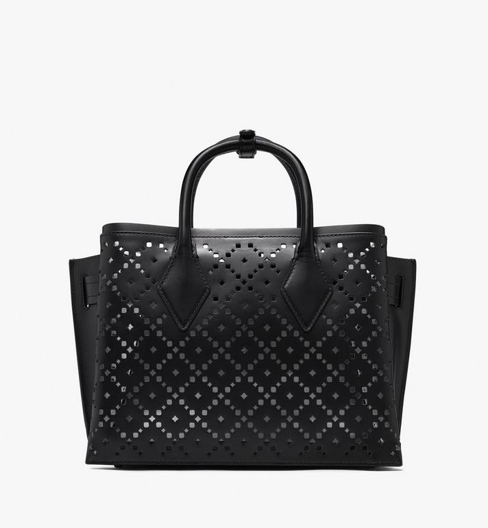 MCM Neo Milla Tote in Perforated Leather Black MWT9AMA86BK001 Alternate View 4