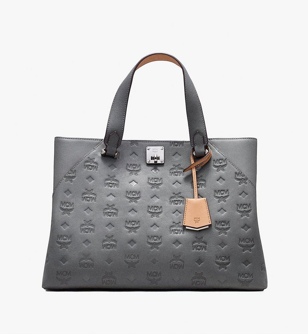 MCM Essential Tote Bag in Monogram Leather Grey MWT9ASE43EC001 Alternate View 1