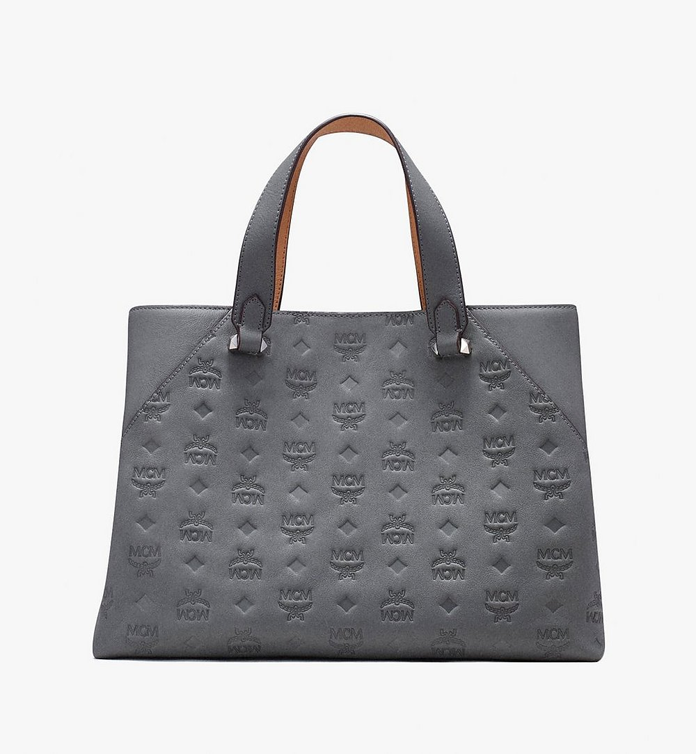 MCM Essential Tote Bag in Monogram Leather Grey MWT9ASE43EC001 Alternate View 2